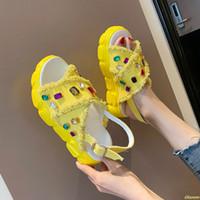 ayakkabı platformları elmaslar toptan satış-Platform Sandalet Kadın Ayakkabı 2019 Yaz Süper Yüksek Topuklu Bayan Rahat Ayakkabılar Kama Tıknaz Sandalet Elmas Moda Yü ...