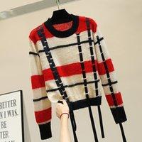 suéteres de otoño de las mujeres al por mayor-2019 Nuevo Otoño Invierno Lazy Wind Loose Sweater Coat Girls Hit Color Striped Thin Knitting Pullover Top Suéteres para mujer Camisa de punto