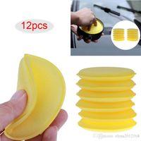 Wholesale car polish sponge resale online - 12pcs Car Vehicle Wax Polish Foam Sponge Hand Soft Wax Yellow Sponge Pad Buffer for Car Detailing Care Wash Clean