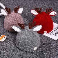ingrosso cappelli di snapback per bambini-5 colori autunno e inverno bambini corna di filato per bambini cappelli di Natale cappelli in maglia cappelli cappelli cappelli caldi supportano trasporto misto misto spedizione gratuita