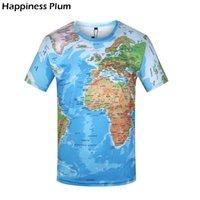 3d haritalar toptan satış-3D Tişörtlü Erkekler Dünya Haritası tişört Komik T Gömlek Erkek 2019 Yaz Kısa Kollu Anime Tee Moda Erkek Giyim Tops