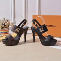 los hombres se visten los cordones de los zapatos de vestir al por mayor-Nueva moda para mujer tacones altos Combinación de cinta Fino con 12 cm Zapatos de mujer Material de cuero Plataforma impermeable tacones altos