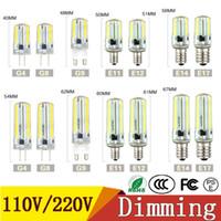 luzes g8 venda por atacado-Dimmable Luzes Led SMD 3014 Lâmpada LED G4 G8 G9 E11 E12 14 E17 Lâmpadas Holofotes de Silicone de Cristal 110 V 220 V 64 152 Leds