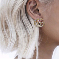 Wholesale date necklace resale online - Fashion Pearl brand designer Retro Letter Earrings Women Stud earring girl Jewelry necklace Bracelet Ring of gift