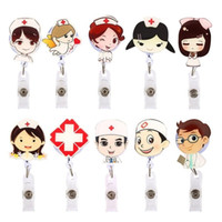 ingrosso tasti di etichetta-Cartoon Nurse Doctor Retrattile Reel ID Badge Etichetta Nome carta Tag Clip Porta chiavi Chiave, Fischio, cordino Badge Cartoon Infermiera