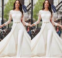 pantolon ebadı l toptan satış-Uzun Kollu Beyaz Tulumlar Gelinlik Dantel Saten ile Overskirts Boncuk Kristaller Artı Size Gelin Modelleri Pantolon Elbise vestidos de Novia