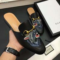 italya 38 toptan satış-Erkekler Hakiki Deri Katırlar Mokasen, Tasarımcılar Slaytlar Moda Açık Sandalet İtalya'da Yapılan 38-45