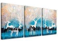 mavi arka planlar toptan satış-Geyik Tuval Wall Art Orman Elk Resim Sanat Baskılar Mavi Arka Plan 3 Parça Modern Ev Çocuk Odası Dekor için Hayvan Boyama