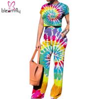 mujeres combinando top shorts al por mayor-Tie Dye Set de dos piezas Mujer Verano Nueva Crop Top de manga corta + pantalones de pierna ancha Trajes Trajes Rainbow Gradient 2 piezas Conjuntos a juego Y19042901