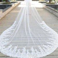 ingrosso fiore di pizzo bianco velato di avorio-Disponibile 2020 veli da sposa Accessori sposa su ordine del merletto 3D Fiori Bridal Veils Bianco Avorio lungo velo con pettini