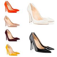 chaussures de marque femmes chaussures de luxe achat en gros de-2019 meilleur designer de luxe chaussures chaussures rouge fond talons hauts 8cm 10cm 12cm Nude noir rouge en cuir Pointed Toes Pumps marque chaussures habillées