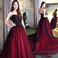 Wholesale short black dreses resale online - 2020 Vintage Black And Red Gothic Long Prom Dreses With Sweetheart Braded Appliqeud Floor Length Formal Evening Party Dresses Custom MAde