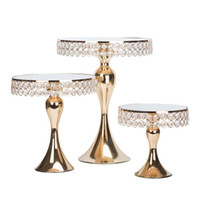 Wholesale decorate mirror resale online - New arrive Gold Crystal cake stand set Electroplating gold mirror face wedding party table candy bar table decorating tools