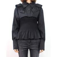 yeni kore dili bluz stilleri toptan satış-Siyah Gömlek Bluz Kadınlar Ruffled Yaka Uzun Kollu Tunik Üstleri Kadın Büyük Boy Kore Tarzı 2019 Bahar Yeni