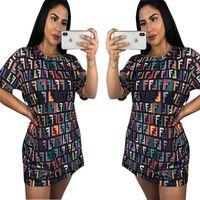 Wholesale fashion dresses for girls resale online - Women FF Letters Casual T shirt Summer Dresses Designer Short Sleeve Colored Short Skirt Fashion Streetwear For Girls Club Clothing C71107