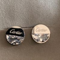 büyük taş küpeler toptan satış-Deluxe büyük elmas taş 925 Ayar Gümüş Sonsuza Gül Temizle CZ Yuvarlak Daire Saplama Küpe Kadın erkek Moda Takı Için