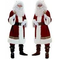 Wholesale santa suits for sale - Group buy Hot Christmas Santa Claus Costume Cosplay Santa Claus Clothes Fancy Dress Christmas Men Women Cosplay Suit for Adults