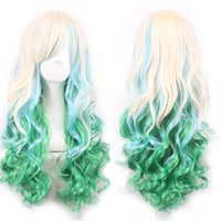 Wholesale Cosplay Long Hair Wigs Long Curly Hair Wigs for Women Beige Light Green Wig with Bangs Colorful Wigs for Party Opera