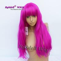 peluca larga franja recta al por mayor-Kylie Jenner Peluca de pelo púrpura sintética yaki larga peluca de pelo liso Pelucas de color rojo púrpura peluca de fiesta de coaplay con franja limpia
