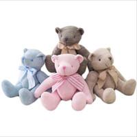 ingrosso animali di peluche a maglia-28cm Teddy Bear Peluche Knitting Toy con Bow-knot Bambini Natale regalo di compleanno Peluche Orso Carino Giocattoli morbidi