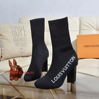 ingrosso calzini invernali di fabbrica-2019 Donna S Knitting Sock Boots nastro Stivaletti Factory Direct femminile il tallone di massima scarpe testa rotonda Autunno Inverno trasporto libero 09171