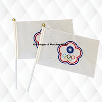 Wholesale china flags resale online - Taibei China Hand Held Stick Cloth Flags Safety Ball Top Hand National Flags CM a