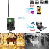 cámara gprs remota al por mayor-Suntek 940NM Cámara de caza de visión nocturna por infrarrojos 12M Digital Trail Cámara Trampa Soporte Control remoto 2G MMS GPRS GSM