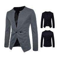 круглый воротник оптовых-Fashionable men's casual suit jacket round collar high-grade cotton long sleeves top coat Dropshipping hot sale  blazers