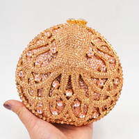 Wholesale gold octopus resale online - Luxury women evening bags Animal octopus Gold crystal Clutch bag fashion diamante dinner bag Ladies party Prom Purse SC056
