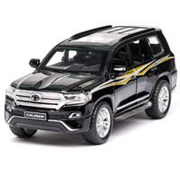 modelo de juguete toyota al por mayor-01:32 coches de juguete TOYOTA LAND CRUISER metal de aleación de juguetes de coches Funde automóviles de juguete modelo de coche de 6 puertas pueden inaugurado juguetes para niños T191128