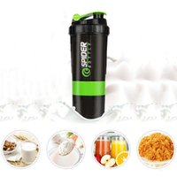 Wholesale mixer bottle for sale - Group buy Sports Workout Fitness Gym Training Bottles ml Protein Shaker Blender Mixer Cup Layers Shaker Water Bottle Container BH1349 TQQ