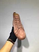 kahverengi süet ayakkabı kadınlar toptan satış-Merhaba En Erkekler Casual Flats Kırmızı Alt Sneaker Kahverengi Süet Lüks Ayakkabı Yeni Erkekler ve Kadınlar Için Parti Tasarımcı Sneakers Severler Hakiki Deri
