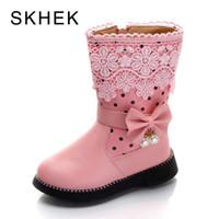 kış kar prenses çocuk ayakkabıları toptan satış-SKHEK Kızlar Kar Botları Yeni Moda Rahat Kalın Sıcak Çocuklar Çocuklar Için Çizmeler Kış Sevimli Erkek Prenses Ayakkabı