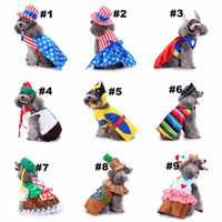 hoodies do animal de estimação do gato venda por atacado-18 Designs Pet Dog Santa Trajes de Natal Aparelhos de Vestir Casacos Engraçados Decoração Do Feriado Do Partido Roupas para Pet Hoodies Filhotes de Cachorro Gatos