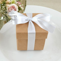 Wholesale box gifts ideas resale online - 50PCS PC quot Square Brown Craft Favor Boxes with Ribbon Wedding Favors Candy Boxes Birthday Sweet Package Event Ideas Anniversary Gifts