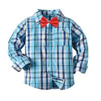 erkek gündelik gömlek giymek toptan satış-Yıl Çocuk Boy erkek Elbise Giyim 3-8 İçin Tanıtım Sıcak Satış Boys Gömlek Klasik Casual Ekose Fanila Çocuk gömlek