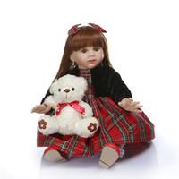 muñecas de niña de tamaño real al por mayor-Bebe renace 60 CM renace Fridolin niño niña bebe muñeca bebe renace a largo pelo liso 6-9M tamaño de bebé real