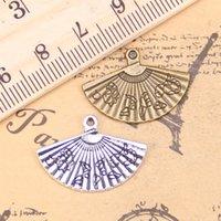 colar tibetano asiático venda por atacado-14PCS encantos asiático fã 17x24mm Antique pingentes, prata tibetana Vintage Jóias, DIY para colar pulseira