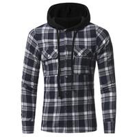 plus größe hoodies strickjacken großhandel-Plus Size Mens Hoodie Plaid Streetwear für Männer Mode Freizeitkleidung Langarm Cardigan Shirt Kleidung mit Tasche M L XL XXL XXXL