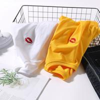 lábios líquidos venda por atacado-20190426 Bordado vermelho lábio vermelho net T-shirt
