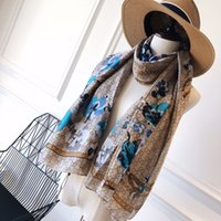 Wholesale flowers wrap resale online - New top quality Luxury scarf Silk scarvers for Women Summer Designer Floral Flower Long Scarves Wrap With Tag x90Cm Shawls