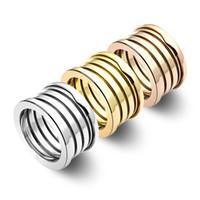 einfacher weißer goldring großhandel-Hochwertige Marke B Ringe 316L Edelstahl Aussage Ringe Für Frauen Männer Hochzeit Paar Elastische Ring Schmuck breite: 1,1 cm / 1,3 cm