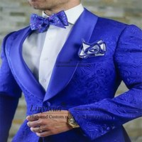 Wholesale best tuxedo designs resale online - New Arrival Royal Blue Floral Men Suits For Wedding Latest Designs Groom Tuxedos Shawl Lapel Suit Men Groomsmen Best Man Blazer