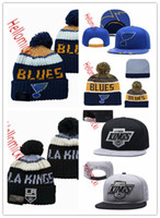 ingrosso beanie rossa blu-St. Louis Blues Snapback Caps nero rosso grigio ricamato Los Angeles Kings Cappello di lana Berretti Caps un formato misura tutti