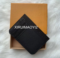 Wholesale leather keychain holder resale online - Mens Classic Casual Credit Card ID Holder Hiqh Quality Leather Ultra Slim Wallet Packet Bag For Mans Womans Keychain