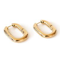 ingrosso orecchini d'ottone-2019 design semplice geometrica rettangolare fibbia a blocco in metallo color oro ottone forma ovale orecchini a cerchio piccolo gioielli da donna partito