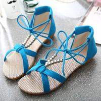 ingrosso sandali in cinturino alla caviglia in rilievo-Sandali alla moda per donna Bohemian Beaded Ankle Strap Sandali gladiatore Sandali con lacci in pizzo Sandali piatti con vestito casual