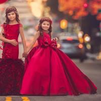 vestidos de noiva para crianças vermelhas venda por atacado-Meninas vermelhas Pageant Vestidos Jewel Neck Bow mangas vestido de baile Vestido da menina de flor para o casamento Custom Made Satin Kids vestido formal