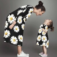 Wholesale mother daughter white matching clothes resale online - Mother And Daughter Clothes White Chrysanthemum printed Matching Family Clothing Antlers Sleeve Striped Mother And Daughter Dresses