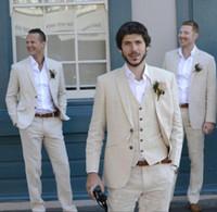 esmoquin de matrimonio al por mayor-El último pantalón de abrigo, color marfil, beige, lino, lino, lino, hombres, trajes, traje de boda, mejor hombre, chaqueta de verano, matrimonio, novio, esmoquin, 3 piezas (chaqueta + pantalón + chaleco)